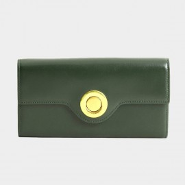 Startown Silver Round Buckle Long Green Wallet (LD374)