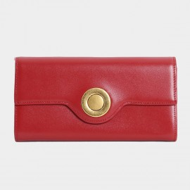 Startown Silver Round Buckle Long Red Wallet (LD374)