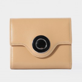 Startown Silver Round Buckle Short Apricot Wallet (LD375)