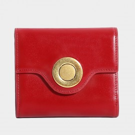 Startown Silver Round Buckle Short Red Wallet (LD375)