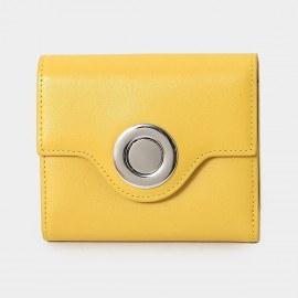 Startown Silver Round Buckle Short Yellow Wallet (LD375)