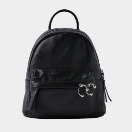 Startown Belly Button Ring Zipper Black Backpack (QT8317)