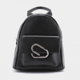 Startown Paper Clip Buckle Black Backpack (QT9112)