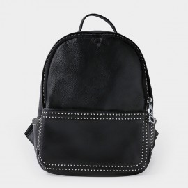 Startown Fine Stitching Back Zipper Black Backpack (QT9113)