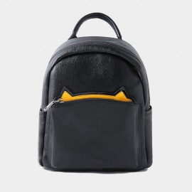 Startown Cat Ears Back Zipper Black Backpack (QT9122)