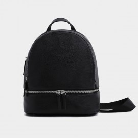 Startown Round Top Zipper Black Backpack (WLA171280)