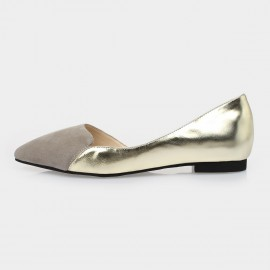 Jady Rose Rena Leather Gold Flats (15DR1-2013)