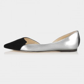 Jady Rose Rena Leather Silver Flats (15DR1-2013)