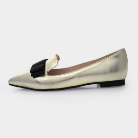 Jady Rose Margo Leather Gold Flats (15DR1-2014)