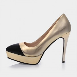 Jady Rose Ciel Leather Gold Pumps (15DR1-2017)