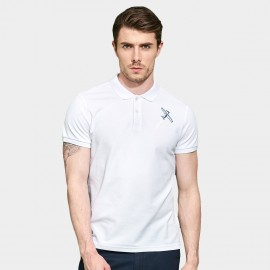 Basique Jet Plane Full Colour Logo Print White Polo (02.0017)