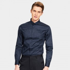 Basique Snowflakes Dotted Long Sleeve Navy Shirt (03.0122)