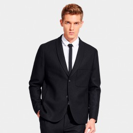 Basique Low Chest Pocket Black Blazer (06.0019)