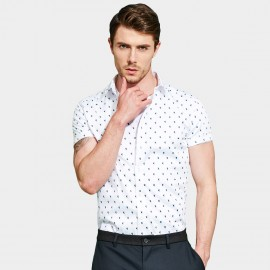 Basique Contrast Dotted Pattern Short Sleeved White Shirt (12.0035)