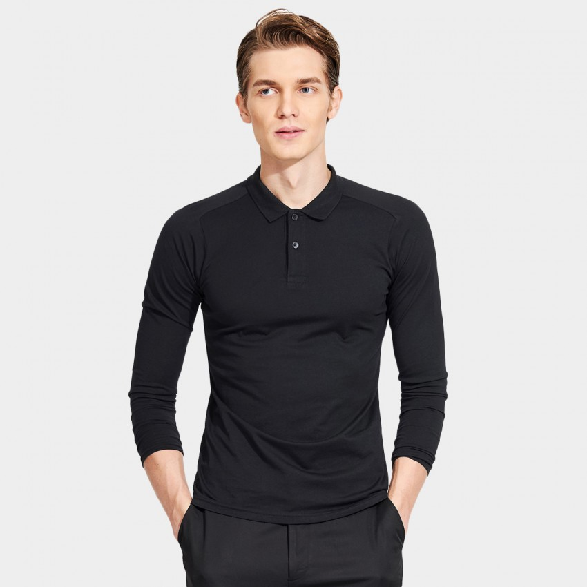 Basique Minimalist Plain Color Slim Fit Long Sleeved Black Polo (18.0022)