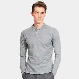 Basique Minimalist Plain Color Slim Fit Long Sleeved Grey Polo (18.0022)