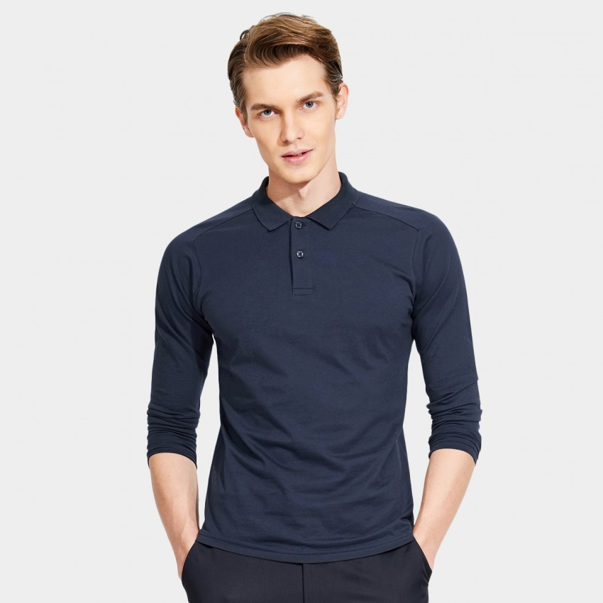 Basique Minimalist Plain Color Slim Fit Long Sleeved Navy Polo (18.0022)