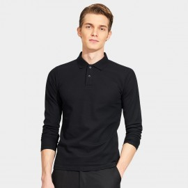 Basique Cotton Gent Plain Color Regular Fit Long Sleeved Black Polo (18.0023)