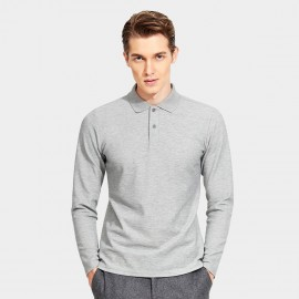 Basique Cotton Gent Plain Color Regular Fit Long Sleeved Grey Polo (18.0023)