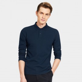 Basique Cotton Gent Plain Color Regular Fit Long Sleeved Navy Polo (18.0023)
