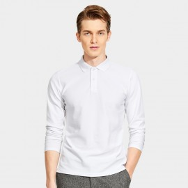 Basique Cotton Gent Plain Color Regular Fit Long Sleeved White Polo (18.0023)