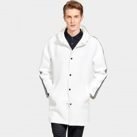 Basique Hooded Sporty Hip Length Baseball Style White Coat (28.0012)