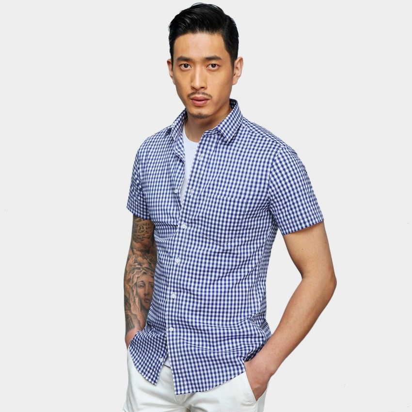 Basique Checked Short Sleeve Blue Shirt (12.0038)
