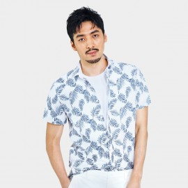 Basique Tropical Print White Shirt (12.0041)