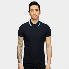 Basique Funky Collar Navy Polo (02.0021)