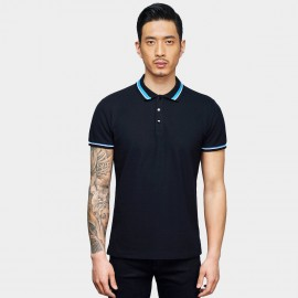 Basique Two-Toned Collar Navy Polo (02.0027)
