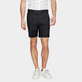 Basqieue Gloss Rolled Chino Black Shorts (03.0123)