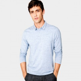 Kuegou Long Sleeves Blue Polo Shirt (ZT-227)