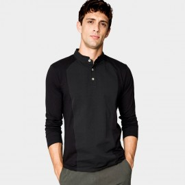 Kuegou Understated Black Polo Shirt (ZT-1306)