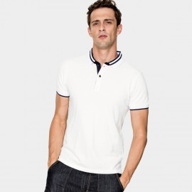 Kuegou Double Strips Contrasting White Polo Shirt (ZT-640)