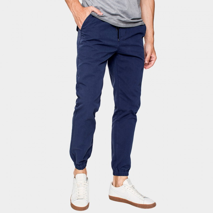 Kuegou Lounge Drawstring Cuffed Slim Fit Navy Pants (KK-2927)