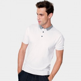 Kuegou Stripe White Polo Shirt (AZ-17060)