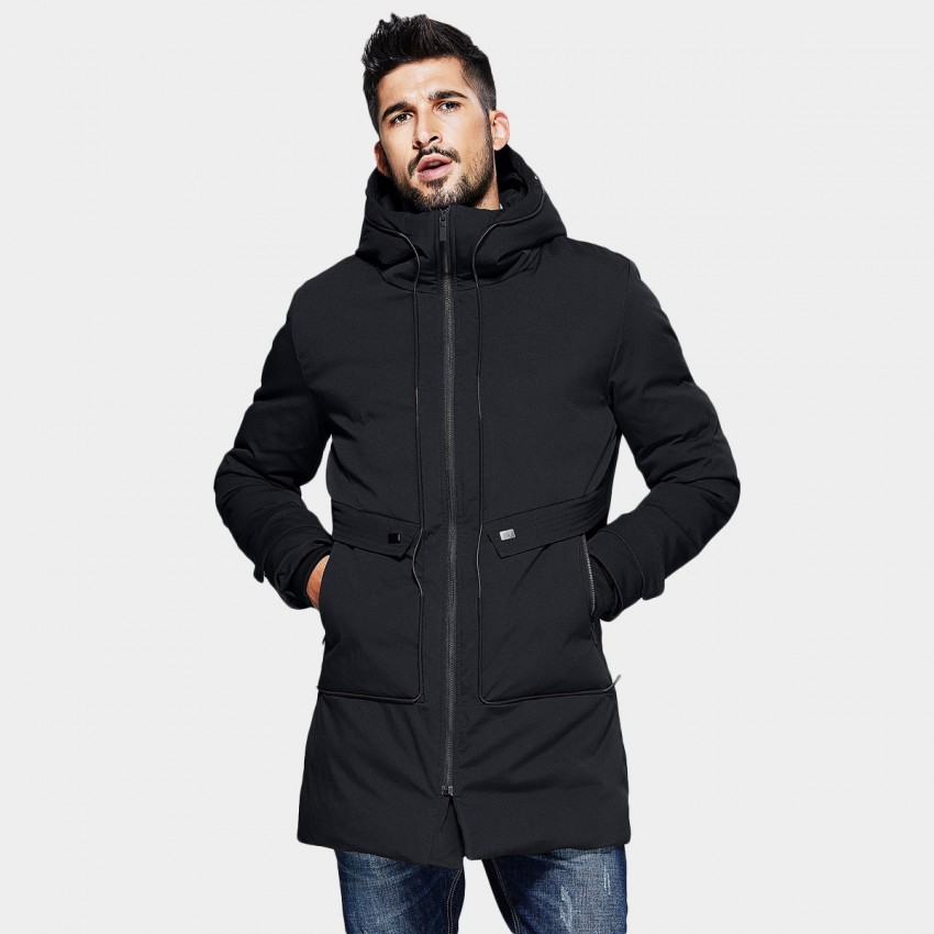 Kuegou Trim Waist Turtle Neck Hip Length Pocket Black Down Jacket (XW-01813)