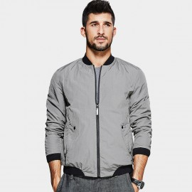 Kuegou Slim-Fit Bomber Grey Jacket (UW-0710)