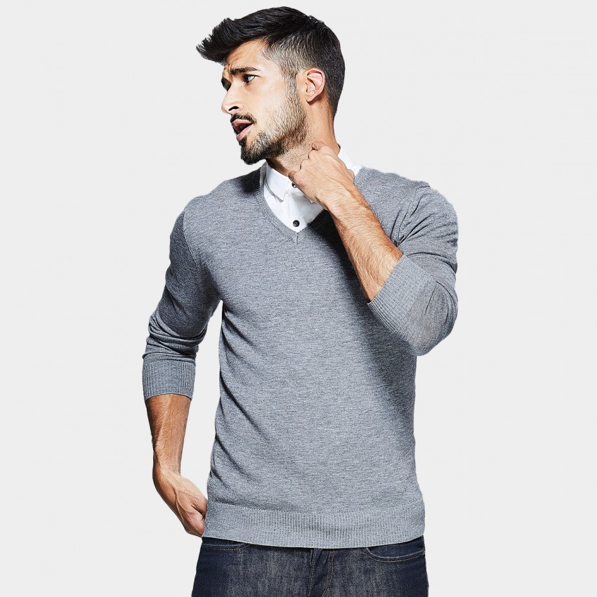 Kuegou V-Neck Simple Grey Knit (TZ-2014)