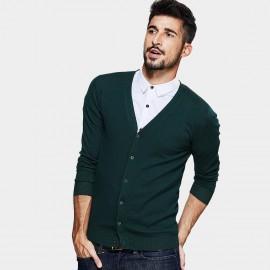 Kuegou V-Neck Button-Down Green Knit (TZ-2012)