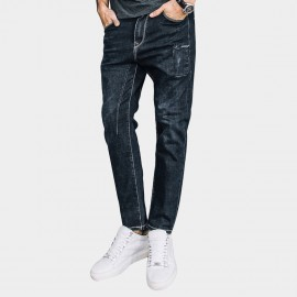 Kuegou Contrasting Seams Scratched Tinted Indigo Blue Jeans (LK-72306)