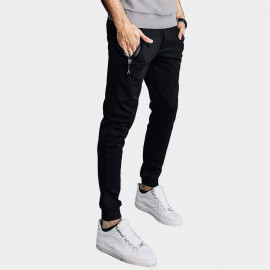 Kuegou Emphasized Zipper Pocket Sporty Slim Fit Black Pants (LK-72286)