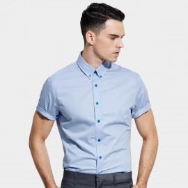 Basique Short Rolled Sleeves Pointed Collar Plain Blue Shirt (12.001)