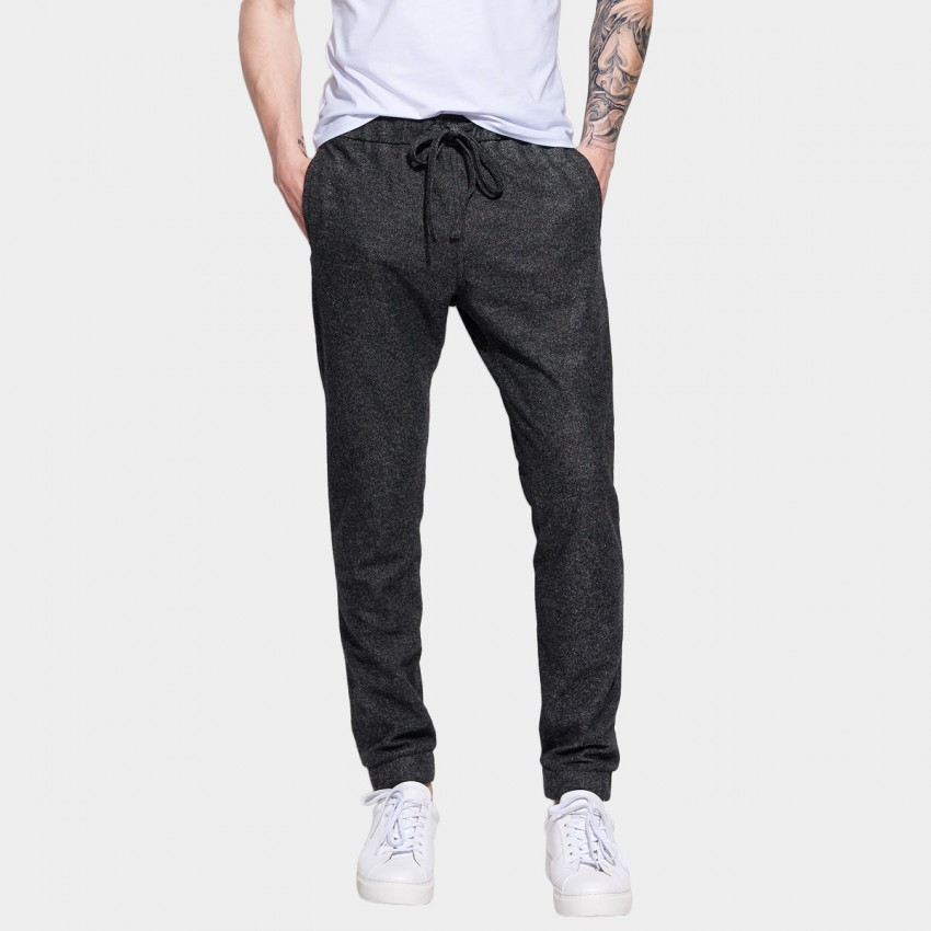 Basique Drawstring Slim Cut Long Charcoal Pants (22.0011)