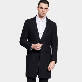 Basique Notch Lapel Thigh Length Black Coat (27.0007)