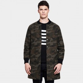 Basique Round Neck Snap Button Thigh Length Camouflage Coat (27.0016)