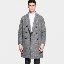 Basique Arrow Pattern Notch Lapel Double Breasted Grey Coat (27.0017)