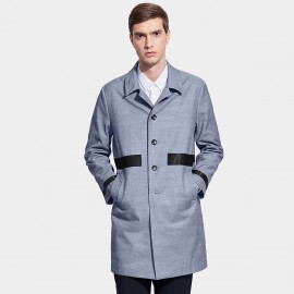Basique Contrast Strips Blue Trench Coat (28.0009)