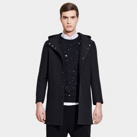 Basique Hooded Button Down Mid-Thigh Black Trench Coat (28.001)