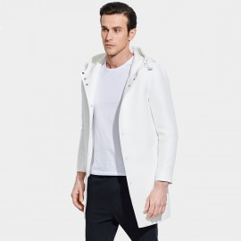 Basique Hooded Button Down Mid-Thigh White Trench Coat (28.0010)